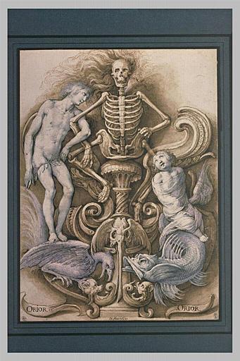 Composition décorative à symboles macabres