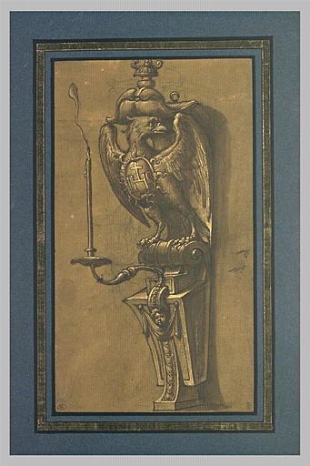 Console supportant un candélabre, avec un aigle portant un blason