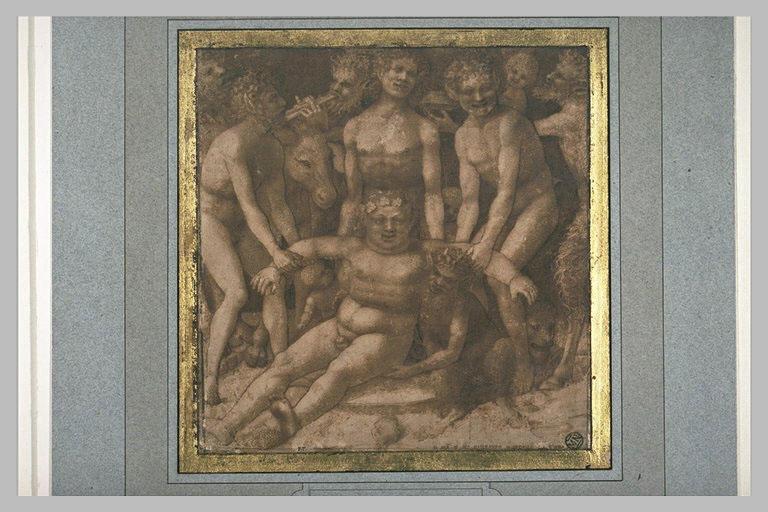 Silène, ivre, est porté par des faunes et des satyres