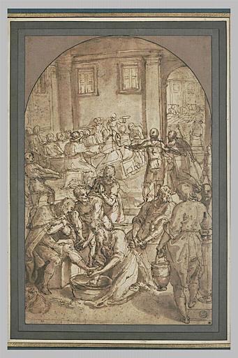 Saint Jérôme lavant les pieds des pélerins