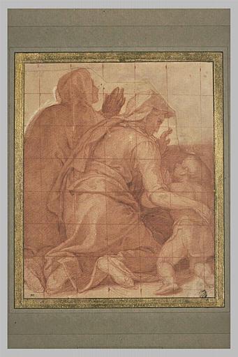 Deux femmes agenouillées, de dos, avec un enfant