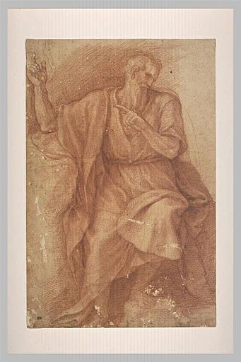 Un vieillard drapé assis, appuyé sur le bras droit, désignant quelque chose