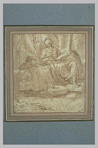 Saint Jérôme assis, tenant un livre ouvert et lisant dans un autre