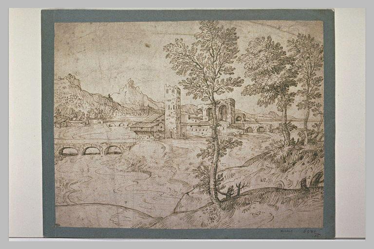 Paysage une tour carré dominant une rivière traversée par deux ponts
