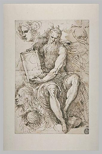 Moïse tenant les tables de la Loi, et études de têtes