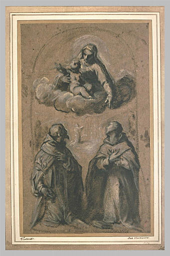 La Vierge et l'Enfant adorés par saint Dominique et saint Antoine de Padoue_0