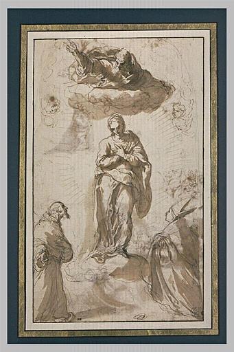 Saint François d'Assise et un évêque adorant la Vierge