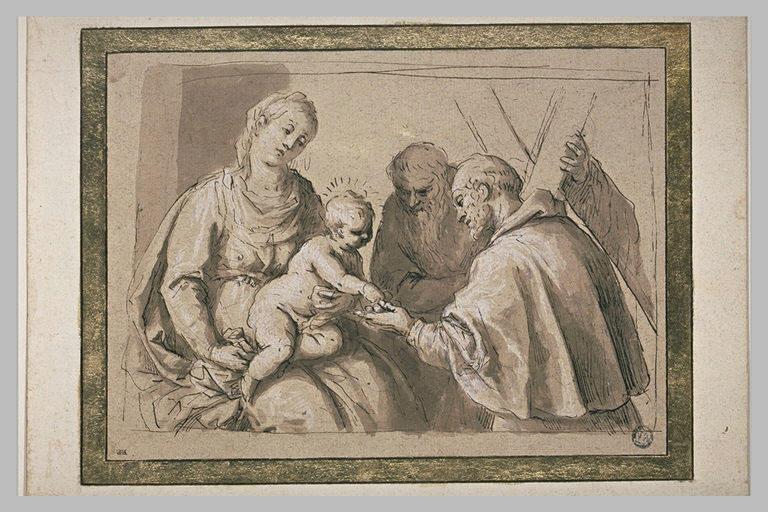 La Vierge à l'Enfant en présence d'un moine et de saint André