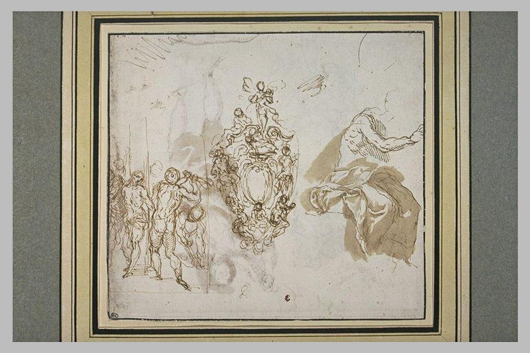 Etudes pour une Flagellation, un ornement et un figure assise, à demi drapée