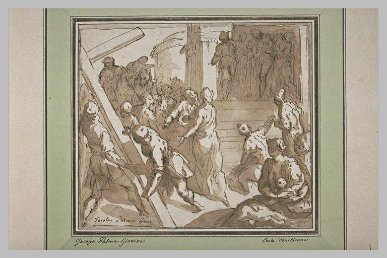 Ecce Homo, avec figures préparant la croix pour la montée au calvaire