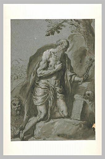 Saint Jérôme dans le désert se macérant le corps