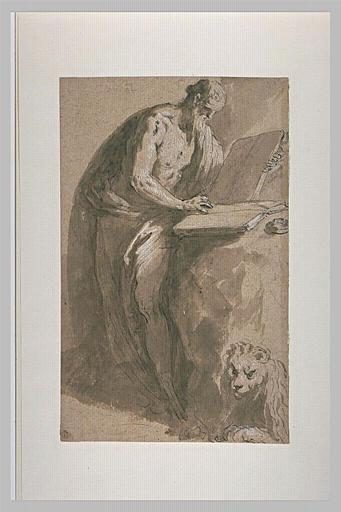 Saint Jérôme, debout, tourné vers la droite et écrivant