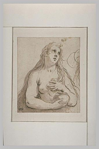 Madeleine nue, en buste, tenant un vase, la main gauche sur la poitrine