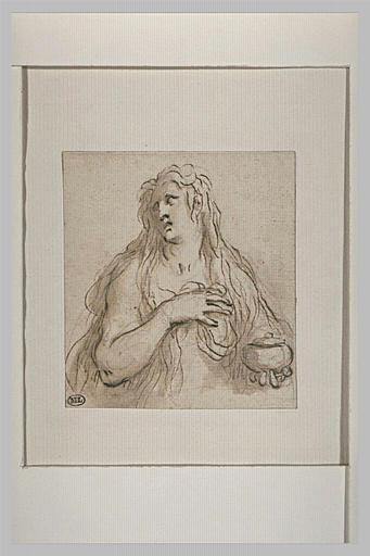 Madeleine, en buste, nue, tenant un vase, la main droite sur la poitrine