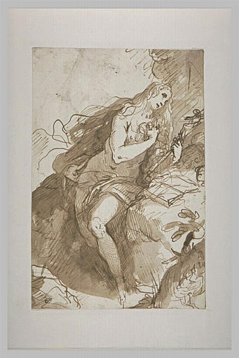 Madeleine pénitente, assise tenant un crucifix