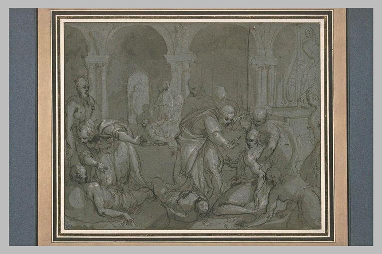 Un saint et des moines soignant des malades dans un hôpital