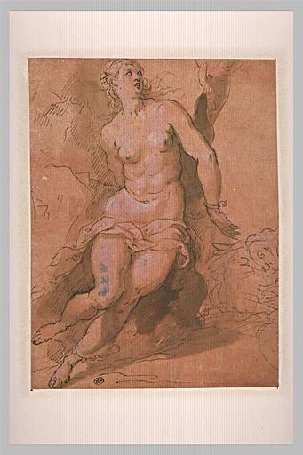Une femme nue, assise, attachée à un arbre : Angélique (?)