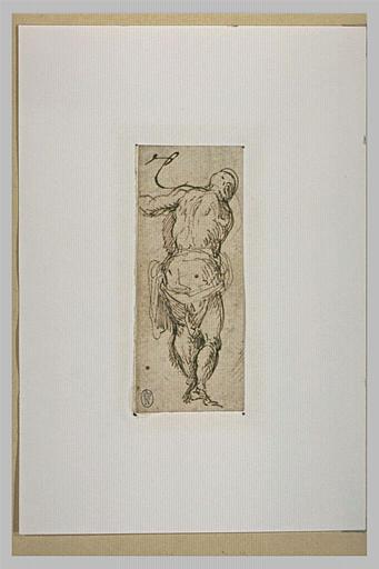 Homme debout, de dos, tendant le bras gauche