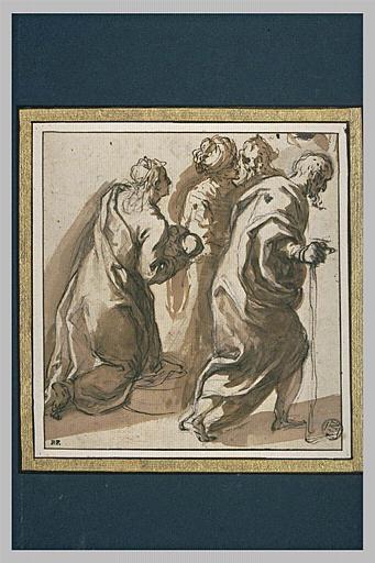 Femme agenouillée, portant son enfant et trois autres figures