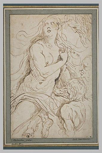 Femme nue, assise (Marie Madeleine), trois têtes d'hommes, étude de pieds