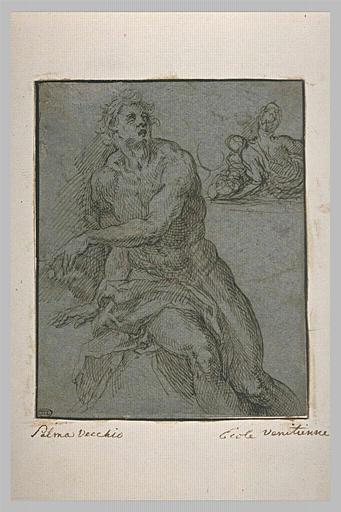 Homme nu, assis, de face, et femme de dos tenant un enfant dans ses bras