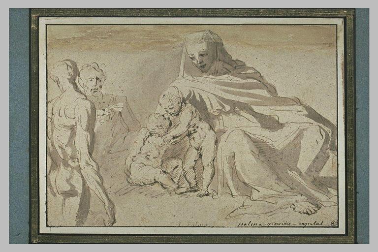 Vierge à l'Enfant et le petit saint Jean, et deux hommes