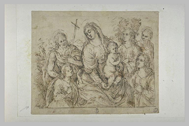 La Vierge à l'Enfant assise entourée de saints