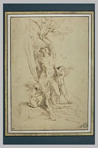 Deux anges ôtent les flèches dont saint Sébastien est percé