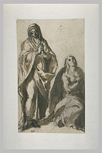 Deux femmes, l'une à genoux, l'autre debout en prière
