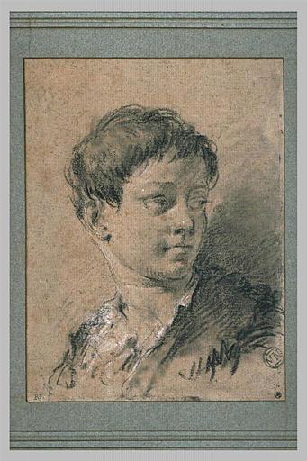 Buste de jeune homme, de trois quarts, regardant vers la droite