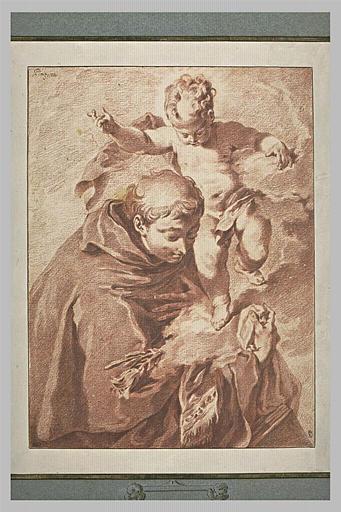 Un saint recevant l'Enfant Jésus dans les bras sur un étoffe