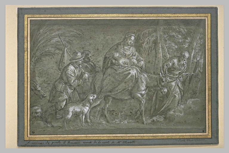 Vierge et l'Enfant sur un âne, conduit par Joseph, escortés de deux hommes