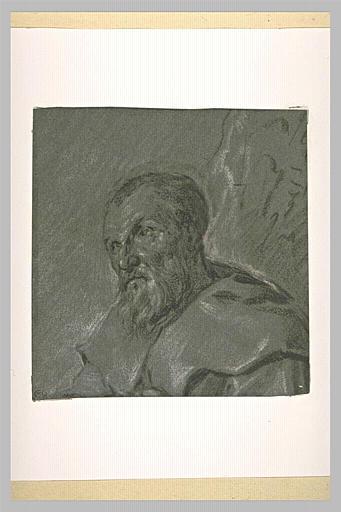 Etude d'une tête de vieil homme, vue de trois quarts, tournée vers la gauche