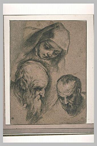 Une tête de religieuse, de trois quarts et deux têtes de vieillard_0