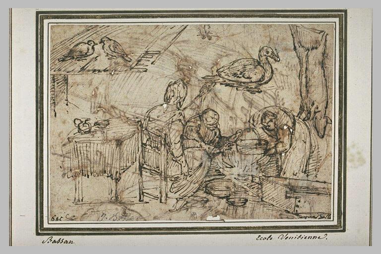 Intérieur d'une cuisine avec trois figures et étude d'animaux