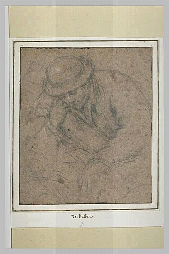 Demi-figure d'homme coiffé d'un chapeau rond, accoudé, regardant en bas