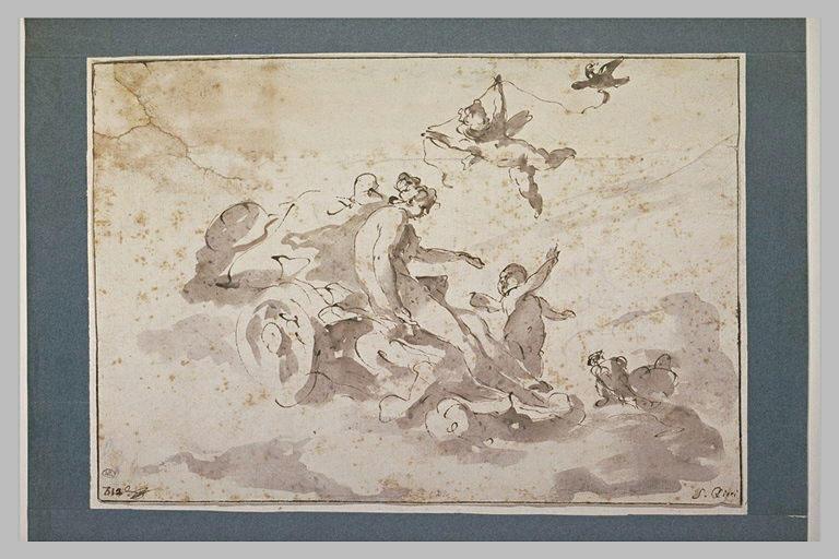 Vénus sur son char et un amour