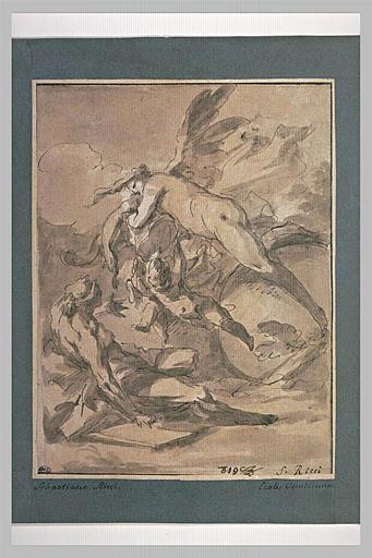 Femme nue ailée avec deux amours volant au dessus d'une figure à terre