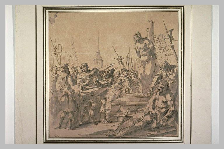 Martyre d'une sainte attachée à un poteau et groupe de soldat à gauche