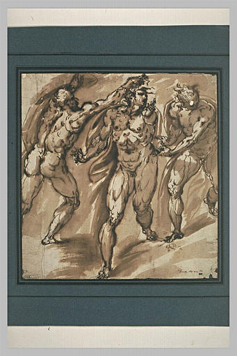 Trois hommes nus, debout, en mouvement