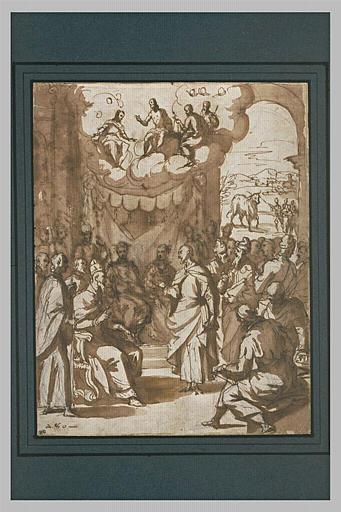 Religieux devant un pape, en présence d'une nombreuse assemblée