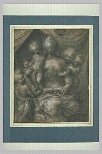 Femme entourée de quatre enfants : la Charité