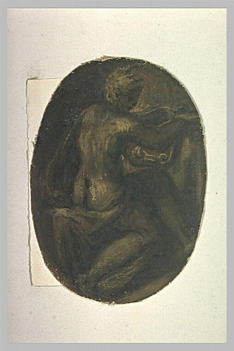 Femme nue, assise, de dos, tournée vers la droite
