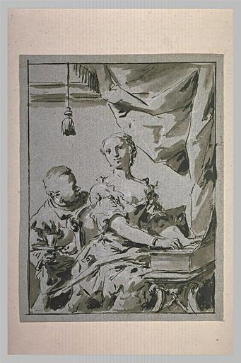 Femme jouant du clavecin et domestique apportant un verre d'eau