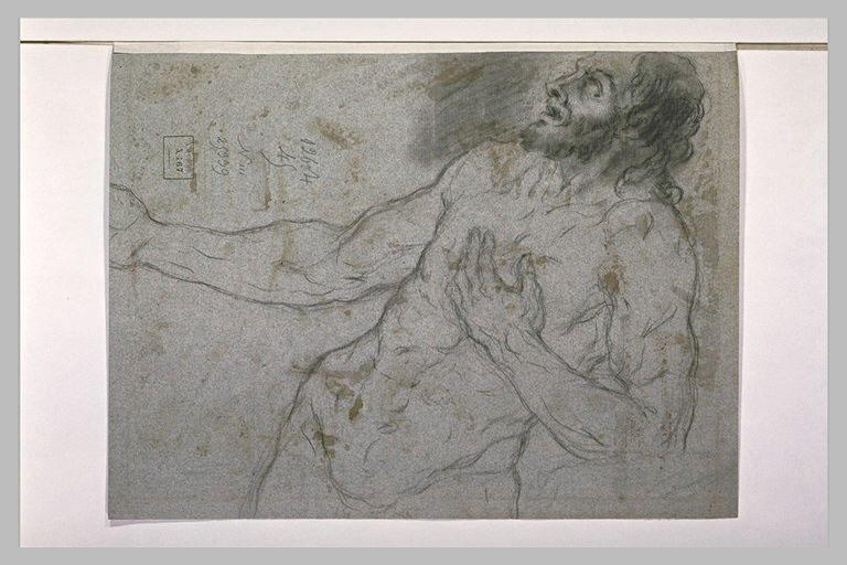 Homme nu, la main gauche sur la poitrine, regardant vers le haut