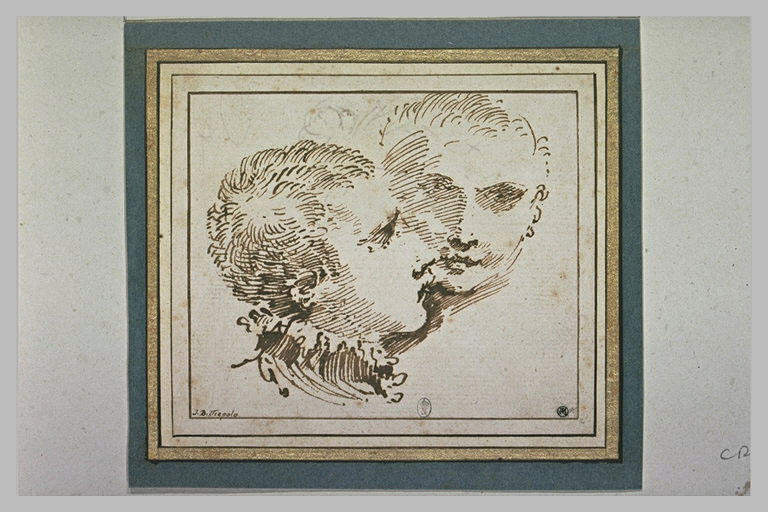 Deux têtes de jeune homme, l'une de profil, l'autre de face