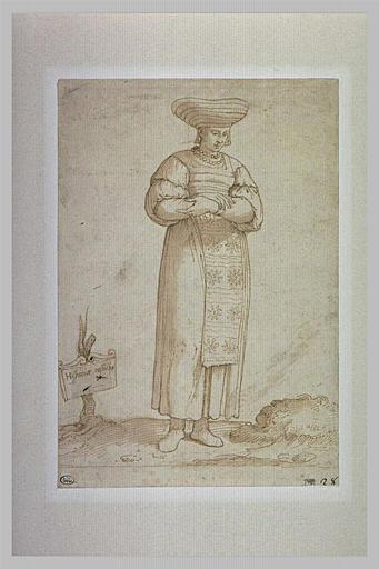 Femme en costume espagnol, les bras croisés
