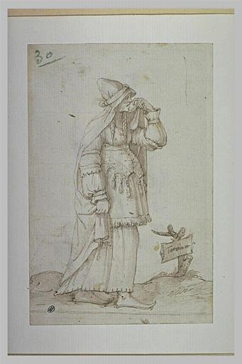 Femme en costume oriental, pleurant