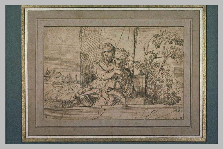 Vierge à l'Enfant, derrière une balustrade