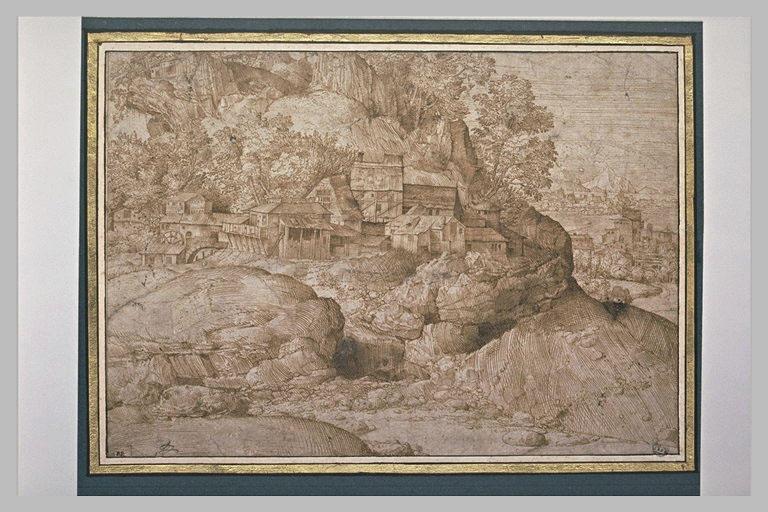 Paysage avec rochers et fabriques